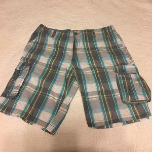 Ecko Unlimited Plaid Cargo Shorts